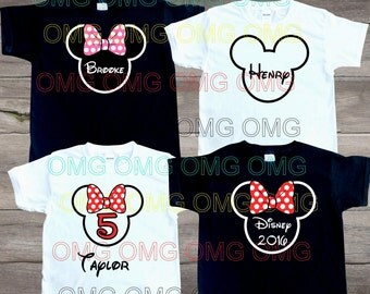 Minnie mickey birthday brother sister disney Happy Birthday Boy Girl Tshirt T Tee Shirt Personalized name number cheer bow