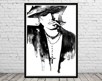 I put a spell and you, man portrait, watercolor man, man print, Fashion Illustration (1986b)