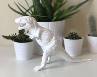 Tyrannosaurus rex dinosaur trex white planter with succulent plant desk home wedding table decoration decor office birthday gift idea