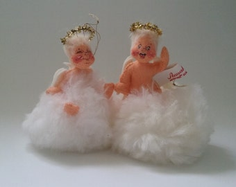Annalee Dolls//1981 Christmas Angel Cloud Ornament//Set of 2