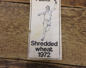 Vintage Shredded Wheat Olympic Facts Leaflet 1972 - Pages in good condition just rust markers from the staples. Interesting little fact book