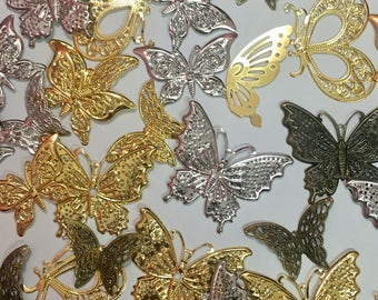 Mixed Lots Brass Butterfly Filigree Embellishment-Assorted Size Brass Butterfly Filigree-Gold/Silver/Bronze Brass Butterfly