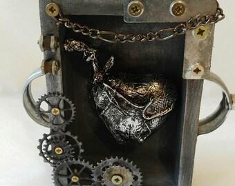 Steampunk Heart-Art Box-Heart-Gears-Assemblage-Shadow box