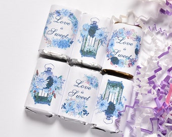 54 Blue Wedding Favors, Candy Wrappers for Hershey®Miniatures, Navy Party Favor, Navy Birthday Party Favors, Blue Floral Party Supplies