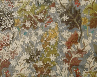 """Light Blue Fabric, Leaf Print, Floral Embroidery, Dressmaking Fabric, Sewing Crafts, 40"""" Inch Cotton Fabric By The Yard ZBC7685A"""