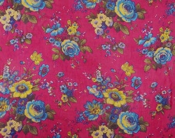 "Magenta Chiffon Fabric, Floral Print, Upholstery Fabric, Dress Fabric, 42"" Inch Quilting Fabric By The Yard ZBCH108B"