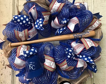 Kansas City Royals Baseball Deco Mesh Wreath, KC Royals Wreath, Royals Front Door Wreath, KC Royals Mesh Wreath, Royals Wreath