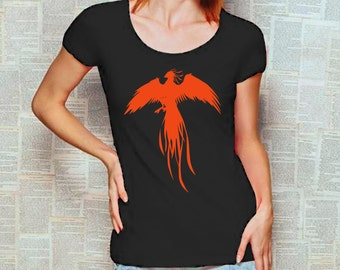 Womens T-Shirt with print Crew Neck t-shirt with phoenix t-shirt graphic tee S M L XL black orange