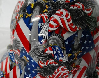 American Liberty Full Brim Custom Hydrographic Hard Hat- MSA V-Gard Fas Trac Suspension III