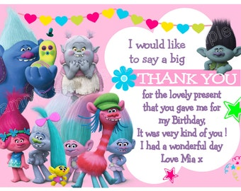 Beautiful Trolls Birthday Thank you Cards x 10 with envelopes