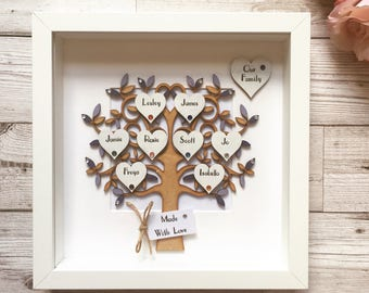 Personalised Family Tree Frame - Great Gift for Wedding - Anniversary - Birthday - New Baby, customised in your choice of colours