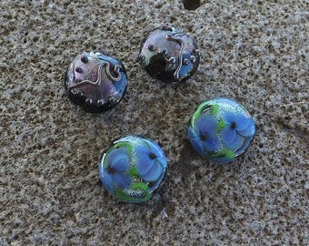 Destash, 2x Black Lampwork Beads, 2x Blue Green Glass Beads, Handmade Beads, Earring Beads