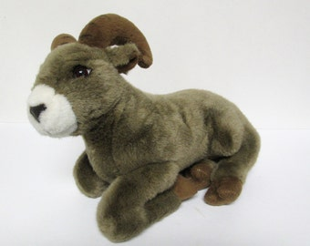 "Incredible Petables 13"" Mountain Goat Plush Stuffed Doll Sitting Lying Horns"