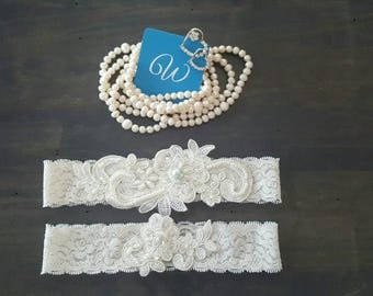 Something Blue Antique White Lace Blue Pearl Wedding Garter Set