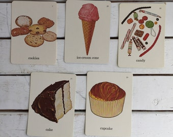 Vintage Flash Card Foods Snacks Sweets / 70's Flash Cards