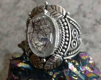 Black Rutilated Quartz Ring, Size 8
