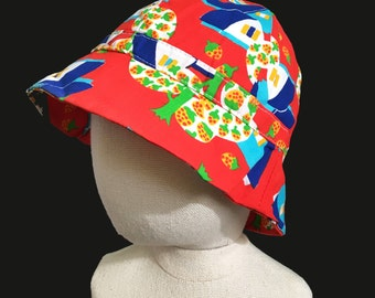 Vintage 70's Printed Colorful Sun Hat New old British Stock  12-24 months