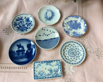 Collection of Blue and White Miniature Decorative Plates