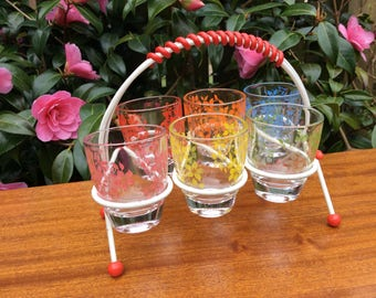 Set of 6 Retro Shot Glasses on Atomic Style Stand Mid-century