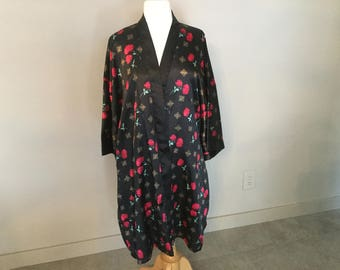 VANITy FAir ROBE ASIAN Chinese Style Black Satin Robe Slinky Lingerie Vivid Red Flowers XL Never Worn