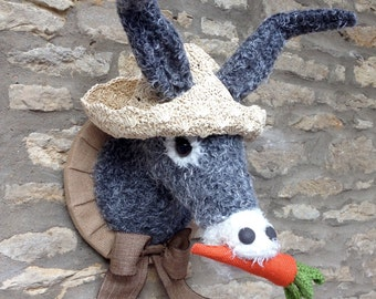 Handmade donkey head faux taxidermy grey and cream seaside donkey with carrot and straw hat wall mounted animal head trophy