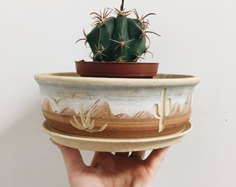 Vintage Cacti Planter / Cacti Vessel / Handmade Southwest Planter / Vintage Succulent Planter / Vintage Planter