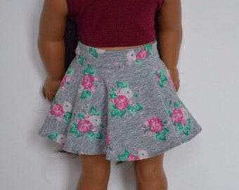 The Lux Doll Grey Floral print knit skirt