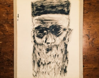 Vintage Charcoal Drawing of Bearded Man in Hat - 1965 - Mystery Artist