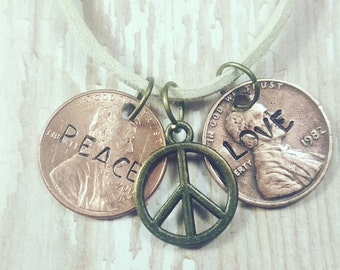 "Peace & love lucky penny charm necklace. 18"" adjustable lobster clasp suede"