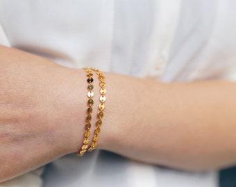 Dainty Gold Coin Bracelet