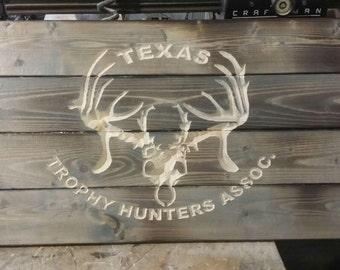 Carved Texas Trophy Hunter home decor deer decor patio decor Texas made sign
