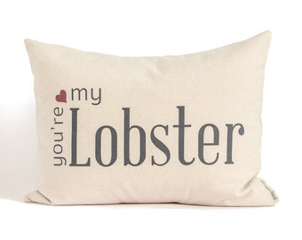 2nd Anniversary Cotton Gift, Two Year Anniversary, You're My Lobster, Gift for Him, Gift for Her, Valentines Day Gift, Custom Pillow