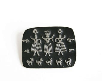 Alice Seely Urban Fetishes Pewter Brooch Pin Three Dancing Sisters