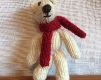 Hand knitted teddy bear, knitted teddy, knitted bear, teddy with scarf, bear with scarf