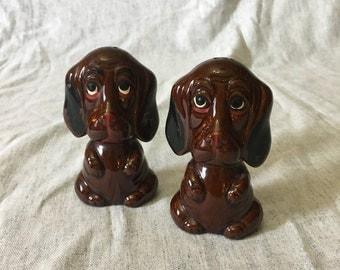 Vintage Brown Hound Dog Salt and Pepper Shakers