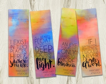 Printable Bookmark, Margaret Atwood Inspirational Quotes, Literary Quote, Instant Download