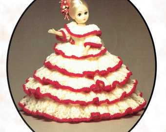 Victorian Doll Clothes Dress Knitting Pattern, Costume Antique, Vintage, Fashion, Modern Doll, Costume  Scarlet & White Lacy Teiredx