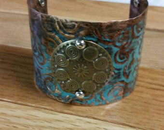 Copper Patina Cuff Bracelet~ Artisan Cuff Jewelry