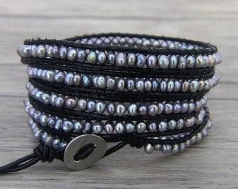 BOHO Pearl wrap bracelet Grey pearl bracelet freshwater pearl leather bracelet Yoga bead wrap bracelet leather wrap bracelet Jewelry SL-0464