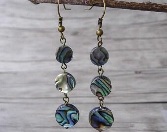 Abalone Earrings Abalone Shell Earrings Long Earrings Bead drop earrings BOHO Earrings Shell bead Earrings Abalone Bead Earrings ED-016