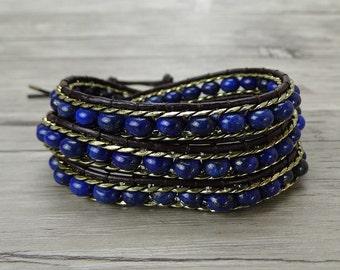 lapis lazuli beads Bracelet Japser beads bracelet Boho Waps Bracelet Gold chain bracele Leather wrap bracelet weaving braceletSL-0381