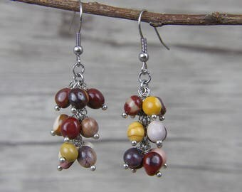 Drop Earrings Gyspy Earrings Multi Color Beads Earrings Mookaite stone beads Earrings Mookaite Earrings Boho Gemstone Earrings ED-040