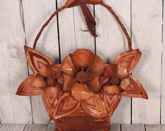 leather Wall Decoration /  Brown leather Decoration / Flower Basket Decoration / Vintage Basket / Wall Decoration