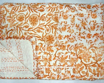 New Indian Kantha Quilt Twin Size Handblock Patchwork Bedsheet Cotton Handmade Small Floral Design Bedspread Throw Orange Indian Bedcover