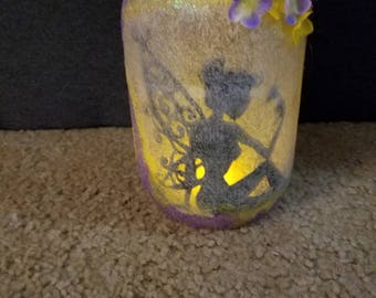 Yellow and purple fairy jar  (3)