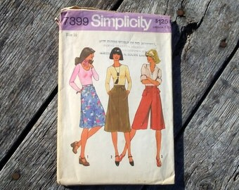 Vintage Sewing Pattern Simplicity 7399 Size 16 Misses Skirt in Two Lengths and Pantskirt COMPLETE 1976 70s Fashion Pattern Old Pattern