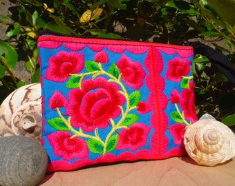 Blue Rose Embroidered Purse Hmong Hill Tribe Fabric Pouch Ethnic Coin Purse Tribal Wallet Folk Boho