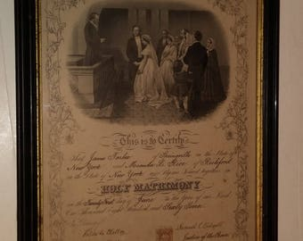 1867 Tarbox/Rice marriage certificate of Concord NY + Richford