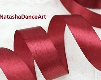 Dark Red ribbon 1'' /25 mm/, satin ribbon, ribbon by the yard, fabric ribbon, ribbon for bows, sewing ribbon, ribbon for crafts, 3 meters