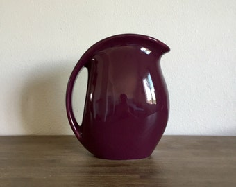 Vintage Purple Ceramic Drink Pitcher with Ice Guard; Feltman Langer Water Pitcher; Vintage Kitchen; Vintage Beverage Server